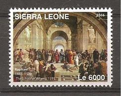 SIERRA LEONE - 2016 RAFFAELLO La Scuola Di Atene (Palazzi Vaticani) Nuovo** MNH - Autres