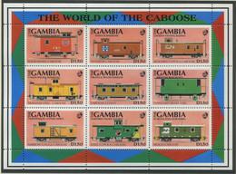 GAMBIA / MiNr. 1219 - 1227 / Güterzugbegleitwagen / Postfrisch / ** / MNH - Trenes