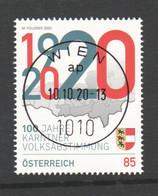 """ÖSTERREICH 2020: """"100 J. Kärntner Volksabstimmung""""  Gestempelt (s.Scan) - 2011-... Gebraucht"""