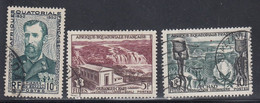 French Equatorial Africa, Scott #185, 189-190, Used, De Brazza, Waterfall, Cotton, Issued 1951-56 - Used Stamps