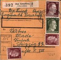 ! 1942 Kreuzburg In Oberschlesien Nach Leipzig, Bahnpoststempel Oppeln, Paketkarte, Deutsches Reich, 3. Reich - Covers & Documents