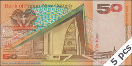 TWN - PAPUA NEW GUINEA 11a - 50 Kina 1989 DEALERS LOT X 5 - Prefix HUC - Signatures: ToRobert & Vele UNC - Papua Nuova Guinea