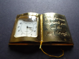 """MINI WATCH OPEN BOOK Shape IN BRASS Brand """"PARK LANE"""" & LABEL """"GOOD FORTUNE STAY WITH YOI ALL THE YEAR THROUGH"""" Need Bat - Other"""