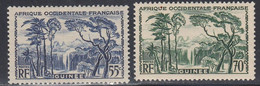 French Guinea, Scott #141, 144, Mint Hinged, Forest Waterfall, Issued 1938 - Unused Stamps