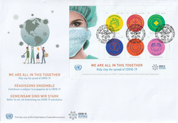 UN - 2020 - We Are All In This Together - FDC Triple - Emisiones Comunes New York/Ginebra/Vienna