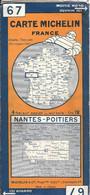 CARTE-ROUTIERE-MICHELIN-1929-N°67-N°2918-32-FRANCE-NANTES/POITIERS-Carte Comme Neuve -Couverture BE - Cartes Routières