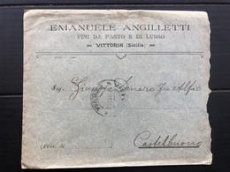 VITTORIA BUSTA INTESTATA EMANUELE ANGILLETTI VINI DA PASTO E DI LUSSO  1910  UVA VINI - Vittoria