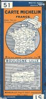 CARTE-ROUTIERE-MICHELIN-1929-N°51-N°2920-36-FRANCE-BOULOGNE/LILLE-Carte Comme Neuve -Couverture BE - Cartes Routières