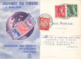 Journée Du Timbre 5 Mars 1939 Cachet Cannes Timbre Mercure 5c Et 25c + Timbre Taxe Sur Carte Fédérale - Postmark Collection (Covers)