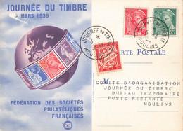 Journée Du Timbre 5 Mars 1939 Cachet Moulins Timbre Mercure 5c Et 25c + Timbre Taxe Sur Carte Fédérale - Postmark Collection (Covers)