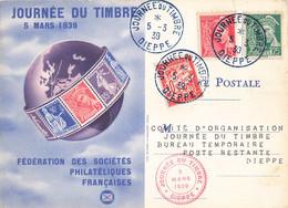 Journée Du Timbre 5 Mars 1939 Cachet Dieppe Timbre Mercure 5c Et 25c + Timbre Taxe Sur Carte Fédérale - 1921-1960: Période Moderne