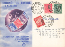 Journée Du Timbre 5 Mars 1939 Cachet Le Havre Timbre Mercure 5c Et 25c + Timbre Taxe Sur Carte Fédérale - Postmark Collection (Covers)