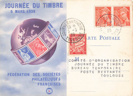 Journée Du Timbre 5 Mars 1939 Cachet Toulouse Paire Timbre Mercure 15c + Timbre Taxe Sur Carte Fédérale - Postmark Collection (Covers)