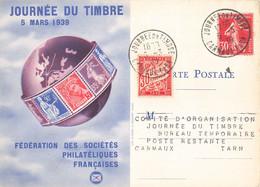 Journée Du Timbre 5 Mars 1939 Cachet Carmaux Tarn Timbre Semeuse 30c + Timbre Taxe Sur Carte Fédérale - Postmark Collection (Covers)