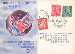 Journée Du Timbre 5 Mars 1939 Cachet Montbeliard Timbre Mercure 5c Et 25c + Timbre Taxe Sur Carte Fédérale - Postmark Collection (Covers)