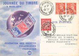 Journée Du Timbre 5 Mars 1939 Cachet Cambrai Paire Attachée Timbre Mercure 15c + Timbre Taxe Sur Carte Fédérale - Postmark Collection (Covers)