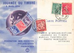 Journée Du Timbre 5 Mars 1939 Cachet Bethune Timbre Mercure 25c Semeuse 5c + Timbre Taxe Sur Carte Fédérale - Postmark Collection (Covers)