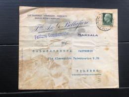 MARSALA (TRAPANI) BUSTA INTESTATA FRATELLI A. & G. BELLAFIORE  VINI MARSALA VERMOUTH MOSCATO    1936  UVA VINI - Marsala