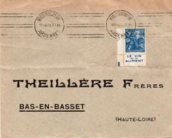 """Ob Krag MEZIERES CHARLEVILLE  ARDENNES  Sur Timbre N° 257a Avec  Bande Pub  """" Le Vin Est Un Aliment  """" - Postmark Collection (Covers)"""