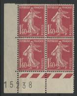 "N° 194 (x4) COTE 200 € Neufs ** (MNH). Avec Coin De Feuille Numéroté ""15238"" - 1906-38 Semeuse Con Cameo"