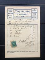 PALERMO FATTURA  S. MAZZARA VINO SAVOIA PREMIATA FATTORIA VINI ED OLII  1934  UVA VINI - Italia