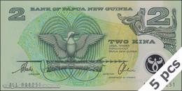 TWN - PAPUA NEW GUINEA 16b - 2 Kina 1997 DEALERS LOT X 5 - Polymer - Prefix ALL - Signatures: Tarata & Mulina UNC - Papua Nuova Guinea