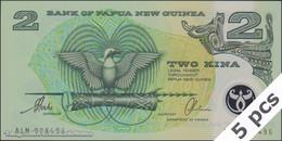 TWN - PAPUA NEW GUINEA 16b - 2 Kina 1997 DEALERS LOT X 5 - Polymer - Prefix ALN - Signatures: Tarata & Mulina UNC - Papua Nuova Guinea