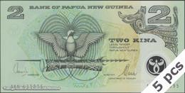 TWN - PAPUA NEW GUINEA 16c - 2 Kina 2000 DEALERS LOT X 5 - Polymer - Prefix AKN - Signatures: Tarata & Mulina UNC - Papua Nuova Guinea