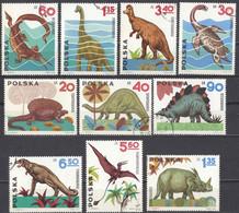 POLONIA - 1965 - Serie Completa Formata Da 10 Valori Usati: Yvert 1423/1432; Animali Preistorici. - Usati