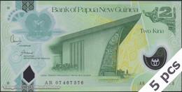 TWN - PAPUA NEW GUINEA 28a - 2 Kina 2007 DEALERS LOT X 5 - Polymer - Prefix AR - Signatures: Kamit & Tossali UNC - Papua Nuova Guinea