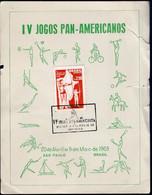 Brasil - 1963 - FDC - Cachet Spécial - IV Jeux Panaméricains - Tir à L'arc - A1RR2 - Boogschieten