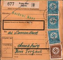 ! 1942 Kupp über Oppeln Nach Annaburg, Dienstmarken, Paketkarte, Deutsches Reich, 3. Reich - Officials