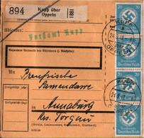 ! 1942 Kupp über Oppeln Nach Annaburg, Dienstmarken, Paketkarte, Deutsches Reich, 3. Reich - Dienstpost