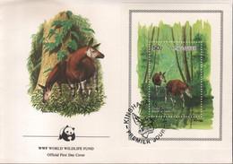 BUZIN / WWF / ZAIRE 1984 / OKAPI / FDC AVEC BL 58 - 1985-.. Pájaros (Buzin)