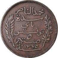 Monnaie, Tunisie, Muhammad Al-Nasir Bey, 5 Centimes, 1907, Paris, TTB, Bronze - Tunisie