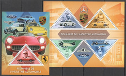 TG713 2013 TOGO TOGOLAISE PIONEERS OF INDUSTRY AUTOMOBILES CARS PORSCHE FERRARI FORD KB+BL MNH - Auto's