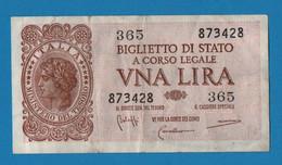 ITALIA 1 LIRE 23.11.1944 # 365  873428 P#29b BIGLIETTO DI STATO - Italia – 1 Lira