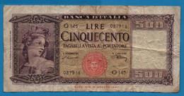 """ITALIA 500 LIRE 10.02.1948 # O145  087918 P# 80a  """"Ornata Di Spighe""""    Banca D'Italia - Sonstige"""