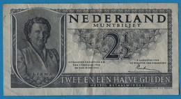 NEDERLAND  NETHERLANDS  2 ½ Gulden 08.08.1949 # 3LZ000524  P# 73 Queen Juliana - 2 1/2 Gulden