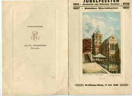 1938 SINT NIKLAAS - Jubelfeesten Akademie Van Schoone Kunsten En Nijverheidschool - Foto Eglise De Georges Plasse - Menu