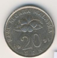 MALAYSIA 1991: 20 Sen, KM 52 - Malaysia