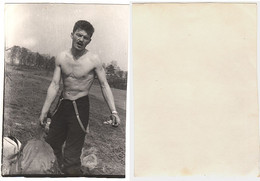 1960 Original 12x9 Home Private Photo Photography Vintage Young Man Male Pants Pin Up Beach Atlet USSR Russia 6570 - Pin-ups