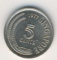SINGAPORE 1977: 5 Cents, KM 2 - Singapore