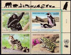 UNO-Wien, 2002, 357/60, Gefährdete Arten (X): Fauna.  MNH ** - Nuevos