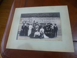 PHOTO ORIGINALE MARIAGE COSTUME CHAPEAU MODE HABIT FASHION WEDDING ANNEE CIRCA 1900-20 GRAND FORMAT - Persone Anonimi