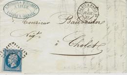 1860 - Lettre De Lille ( Nord ) Cad AMB. CALAIS A PARIS 2°  G  Jour  Affr. N°14 Oblit. Los. C P 2° - Bahnpost
