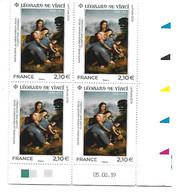 5355 - LEONARD DE VINCI Sainte-Anne, La Vierge Marie Et Jésus, Bloc De 4 Avec Coin Daté Au 05-08-19 - Francia