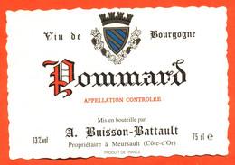 """étiquette De Vin De Bourgogne Pommard A Buisson Battault à Meursault """"  75 Cl - Bourgogne"""