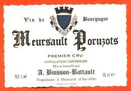 """étiquette De Vin De Bourgogne Meursault Poruzots A Buisson Battault à Meursault """"  75 Cl - Bourgogne"""