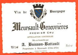 """étiquette De Vin De Bourgogne Meursault Genevrières A Buisson Battault à Meursault """"  75 Cl - Bourgogne"""